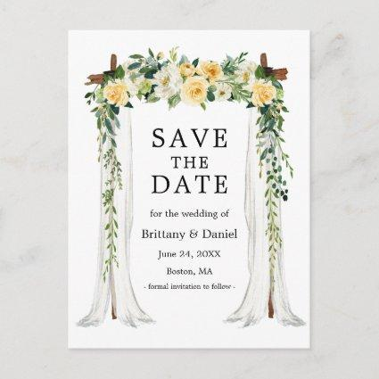 Wedding Canopy Arch Watercolor Yellow Floral Announcement