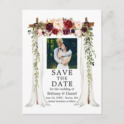 Wedding Canopy Watercolor Burgundy Floral Photo Announcement