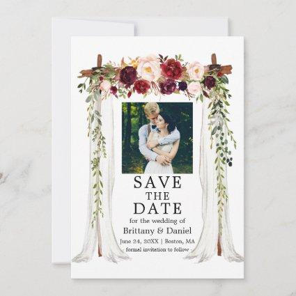 Wedding Canopy Watercolor Burgundy Floral Photo Save The Date
