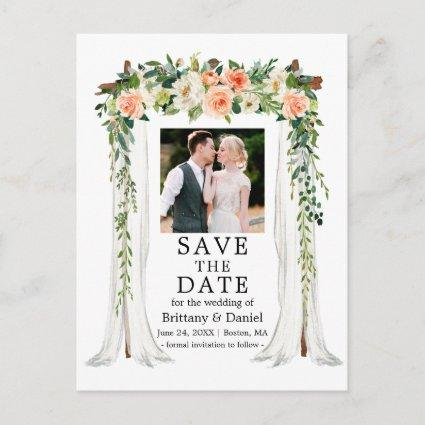 Wedding Canopy Watercolor Coral White Floral Photo Announcement