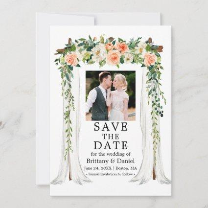 Wedding Canopy Watercolor Coral White Floral Photo Save The Date