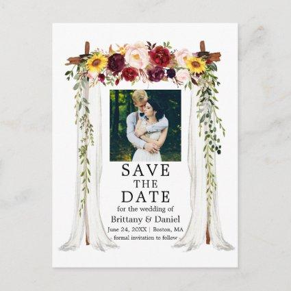Wedding Canopy Watercolor Mixed Floral Photo Announcement