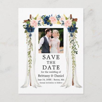 Wedding Canopy Watercolor Pink Blue Floral Photo Announcement
