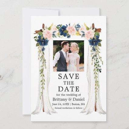 Wedding Canopy Watercolor Pink Blue Floral Photo Save The Date