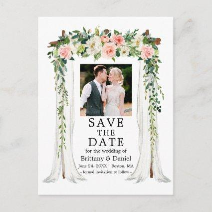 Wedding Canopy Watercolor Pink White Floral Photo Announcement