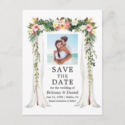 Wedding Canopy Watercolor Tropical Floral Photo Announcement