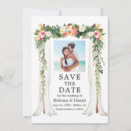 Wedding Canopy Watercolor Tropical Floral Photo Save The Date
