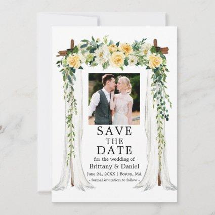 Wedding Canopy Watercolor Yellow Floral Photo Save The Date