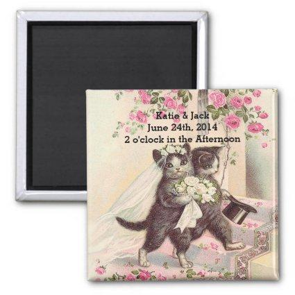 Wedding Cats Bride and Groom Magnets