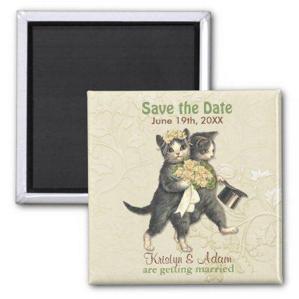 Wedding Cats Save the Date Magnets - Ivory