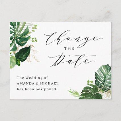 Wedding Change the Date Tropical Palm Leaves