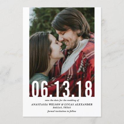 Wedding Date Cutout Vertical Photo Save the Date