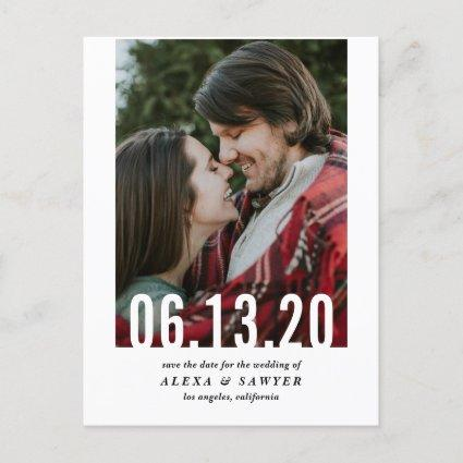 Wedding Date Cutout Vertical Photo Save the Date Announcement