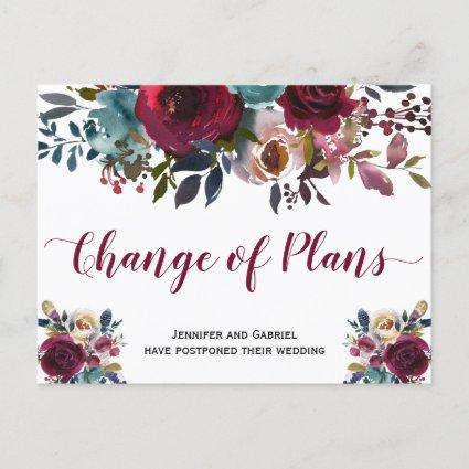 Wedding Date Postponed Burgundy Navy Floral Announcement
