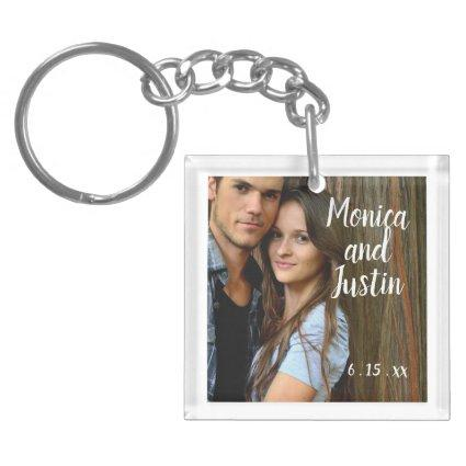 Wedding Engagement Photo Couple's Names Date Keychain