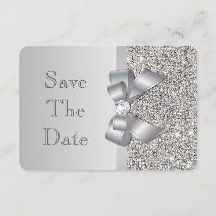 Wedding Faux Silver Sequins Bow Save The Date