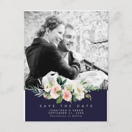 wedding floral navy save the date photo