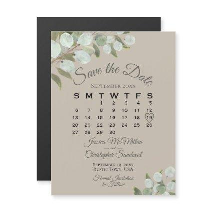 Wedding Greenery Save the Date Calendar Tan Taupe Magnetic Invitation