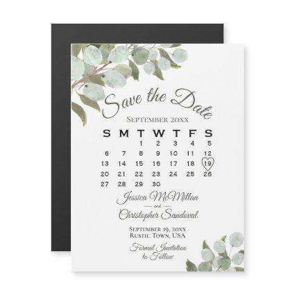 Wedding Greenery Save the Date Calendar White Magnetic Invitation