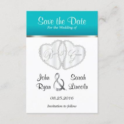 Wedding Hearts in Turquoise - Save the Date