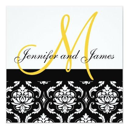 Wedding Invitation Monogram Names Yellow Damask