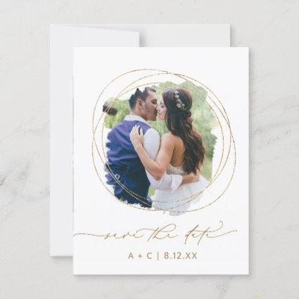 Wedding Photo Geometric Greenery Watercolor Save The Date