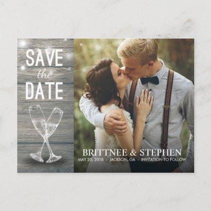 Wedding Photo Save The Date Champagne Glasses Wood