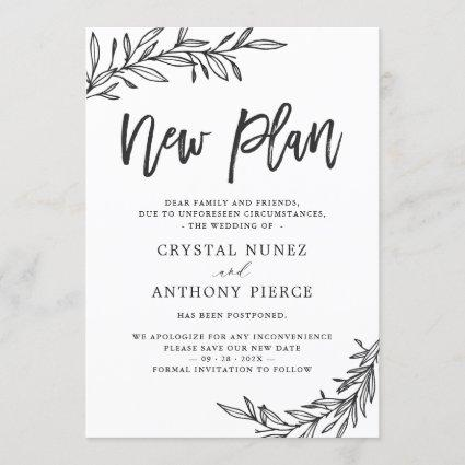 Wedding Postponed New Plan Save our New Date Invitation