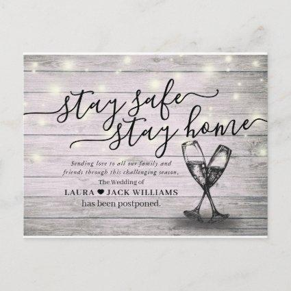 Wedding Postponement Stay Home Stay Safe Champagne Announcement