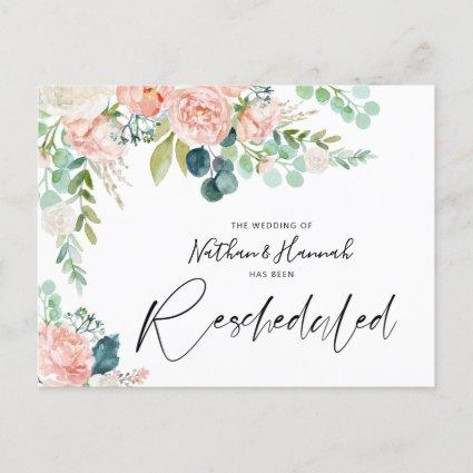 Wedding Rescheduled Blush Pink Floral Changed Date Announcement