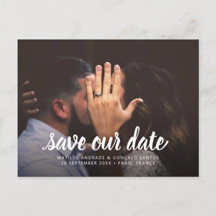 Wedding Save Date Photo Simple Modern Calligraphy Announcement