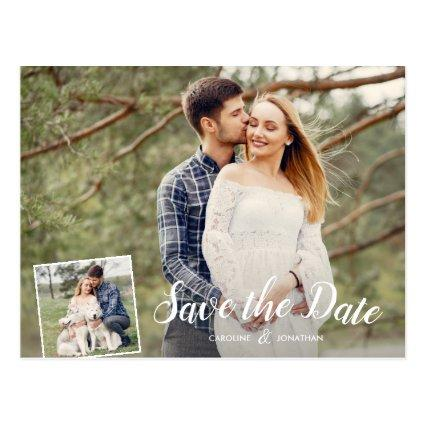 Wedding Save the Date 2 Photos White Calligraphy