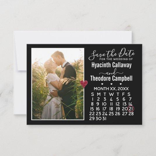 Wedding Save the Date Any Month Calendar + Photo
