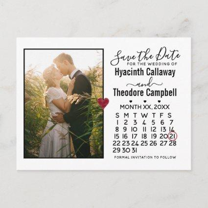 Wedding Save the Date Any Month Calendar + Photo Invitation