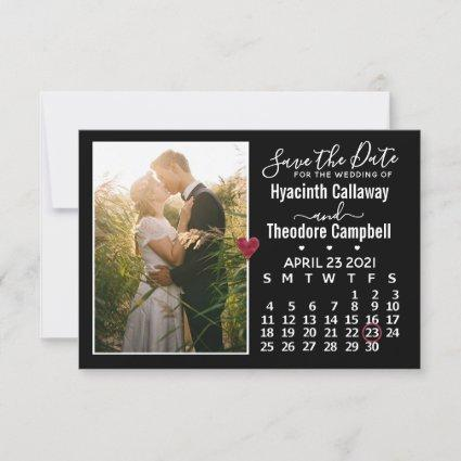 Wedding Save the Date April 2021 Calendar Photo