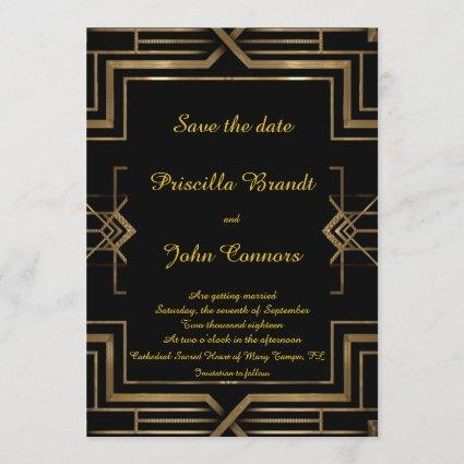 Wedding Save the Date,black,great-Gatsby,script Save The Date