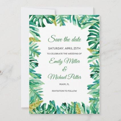 Wedding Save The Date Botanical Tropical Painted