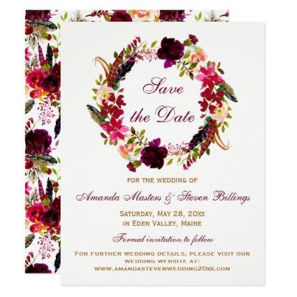 Wedding Save the Date - Burgundy Floral, Feathers Invitation
