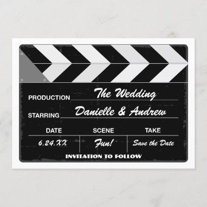 Wedding Save the Date Cards | Movie Clap Board