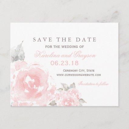 Wedding Save the Date Cards | Pink Watercolor Roses