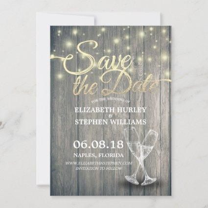 Wedding Save The Date Champagne Glasses Wood Light