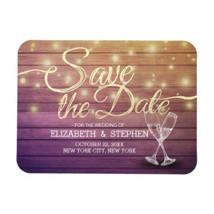 Wedding Save The Date Champagne Glasses Wood Light Magnets