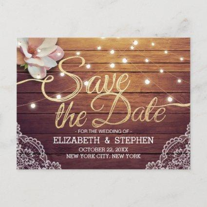 Wedding Save The Date Chic Floral Lights Wood Lace Announcement