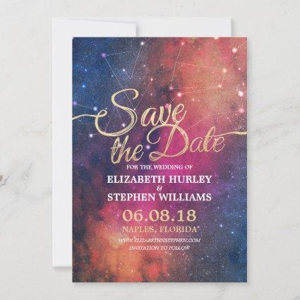 Wedding Save The Date Chic Star Sky Constellations