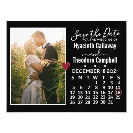 Wedding Save the Date December 2021 Calendar Magnetsic Invitation