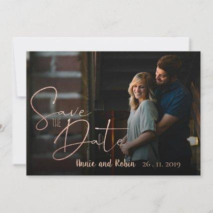 Wedding Save The Date Faux Rose Gold Photo Card