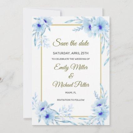 Wedding Save The Date Floral Blue Gold