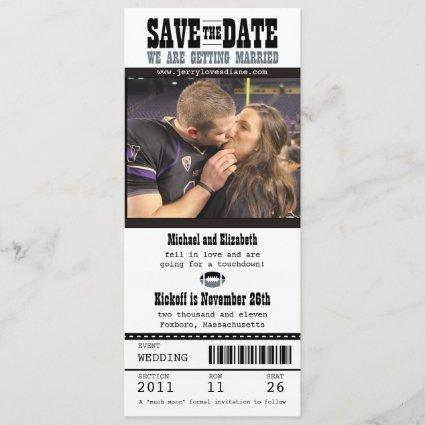 Wedding Save the Date Football Ticket