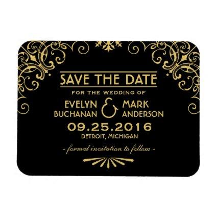 Wedding Save the Date | Gold Art Deco Style Magnet