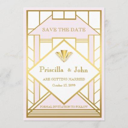 Wedding Save the Date,Great Gatsby,white gold pink Save The Date